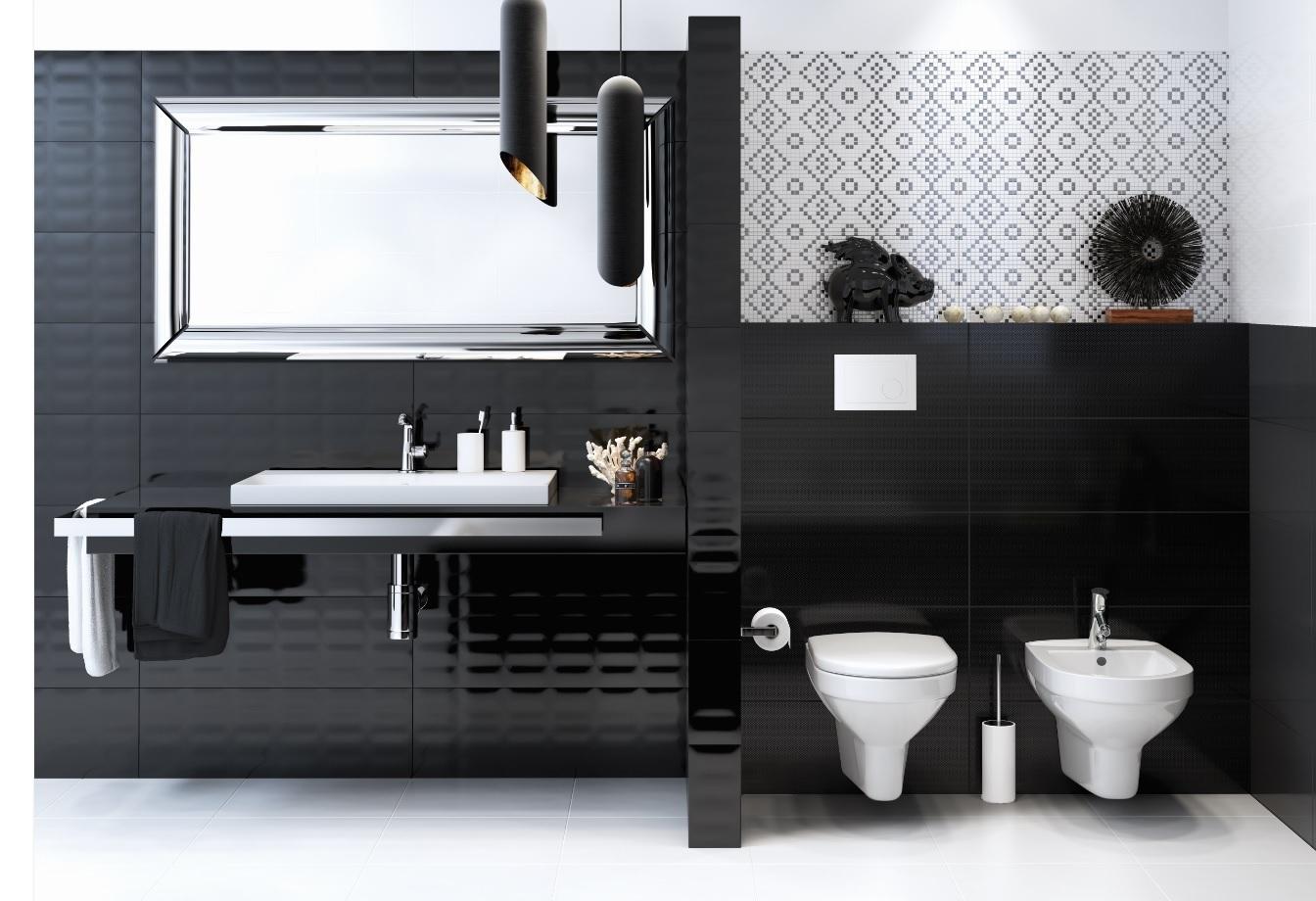 Dekorfliese meissen magic mosaik schwarz wei 25x75 cm for Dekorfliesen badezimmer