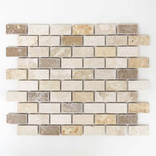 Mosaiktafel Homestile Brick Travertin mix tumbled 30x30 cm