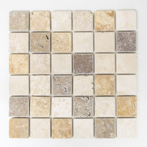 Mosaiktafel Homestile Quadrat Travertin mix tumbled 30x30 cm