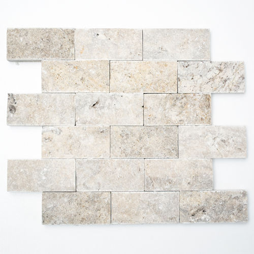 Mosaiktafel Homestile Brick Splitface silver Travertine 30x29 cm