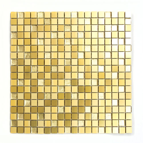 Mosaiktafel Quadrat Alu Crystal Mix Gold 30x30 cm
